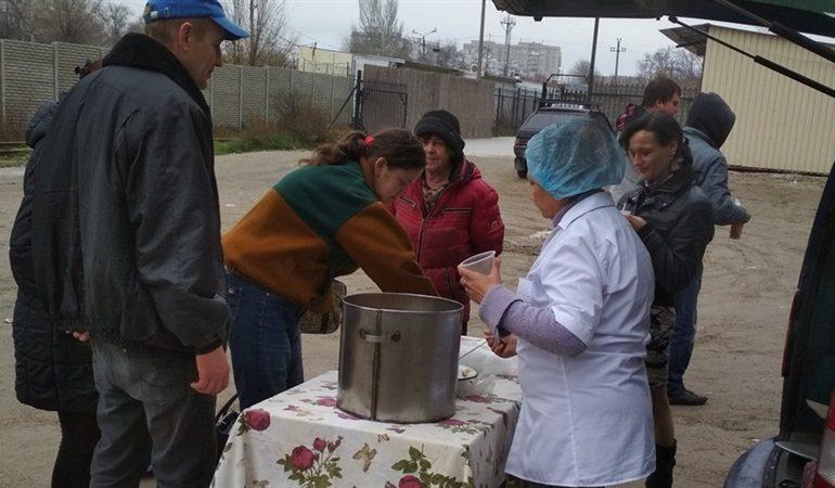 В Запорожье на  улице Чаривной открылась кухня для бомжей