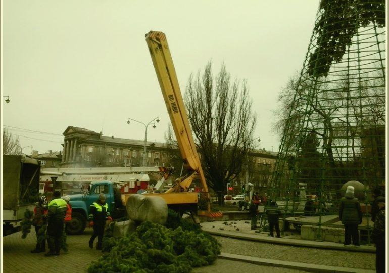 В Запорожье демонтируют главную елку города
