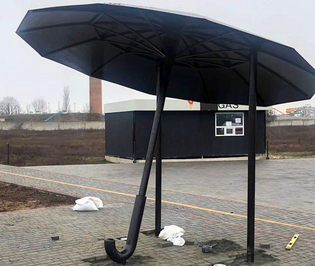 На запорожском курорте появилась стильная автобусная остановка