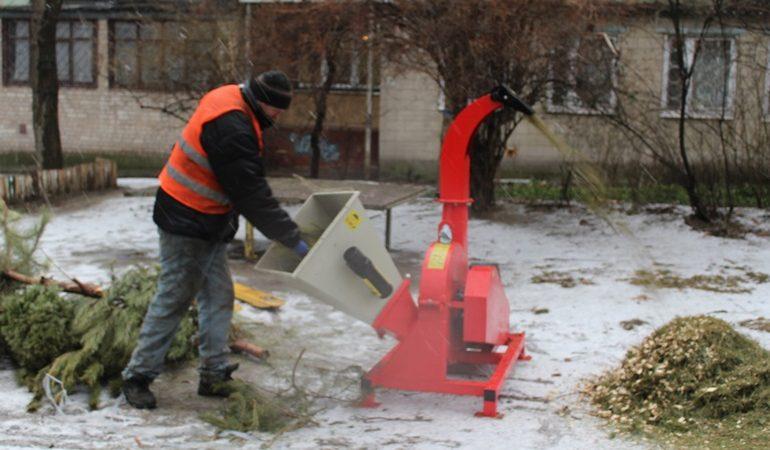 В Александровском районе Запорожья утилизируют новогодние елки