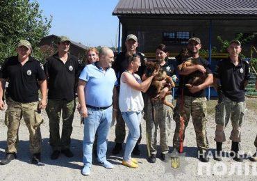 В Запорожской области щенков Асю и Алекса отдали на службу в полицию