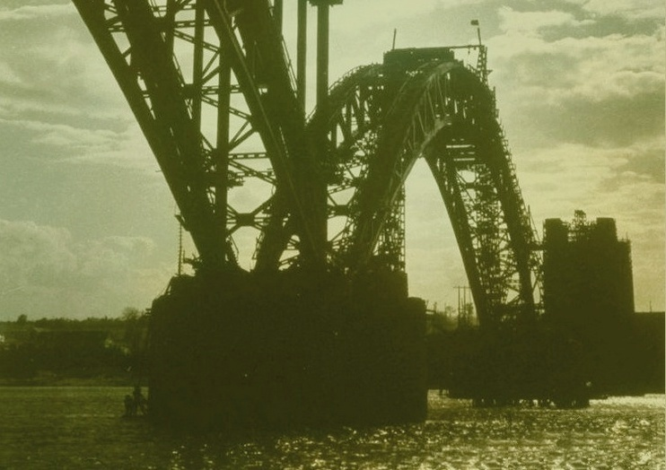 Запорожье на старых открытках: строящийся мост через Днепр, 1931 год